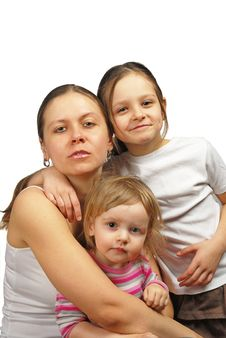 Free Portrait Of A Happy Mother And Her Children Royalty Free Stock Image - 30159286