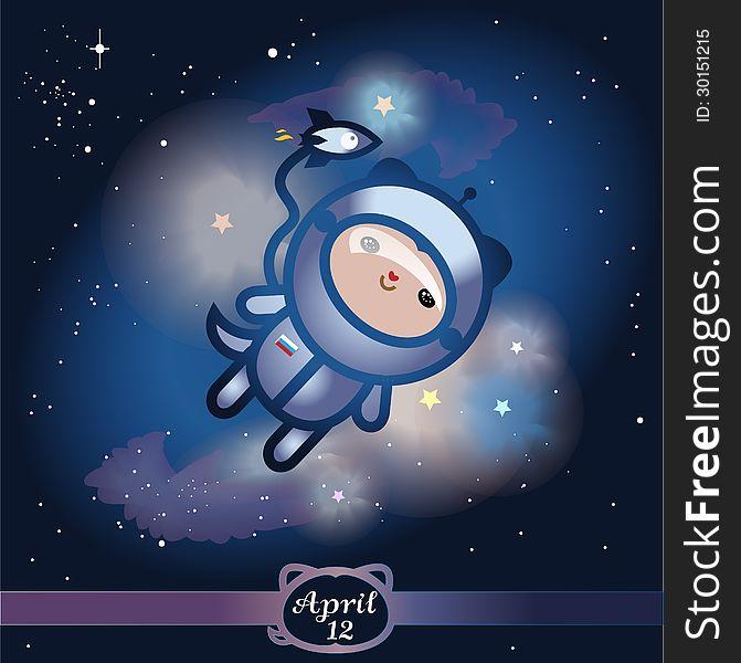 Illustration. Yury Gagarins first flight in space
