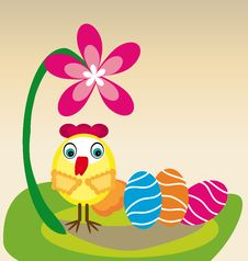 Free Little Chicken And Eggs Royalty Free Stock Image - 30160426