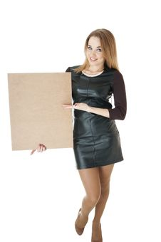 Free Beautiful Smiling Girl Showing   Empty Wooden Notice Board. Royalty Free Stock Images - 30161959