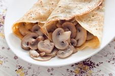Free Pancakes With Mushrooms Stock Photography - 30162012