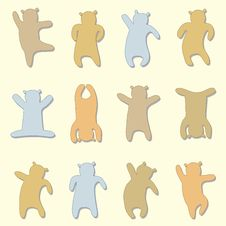 Set Of Silhouettes Of Bear Stock Image