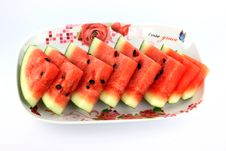 Free Watermelon Which Are Sliced Into On Dish. Royalty Free Stock Image - 30167276