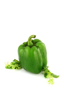 Free Greenl Peppers Three Colors On White Background. Royalty Free Stock Photography - 30168437