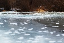 Free Frozen River With Blue Ice And Sun Reflection. Stock Photography - 30172262