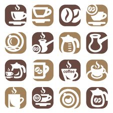 Free Color Coffee Icon Set Stock Photography - 30173922