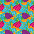Free Seamless Pattern With Colored Turtles Royalty Free Stock Images - 30182029