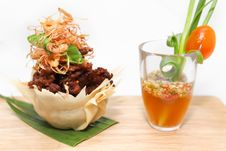Free Fried Crispy Pork With Herb And Seafood Sauce Royalty Free Stock Images - 30180129
