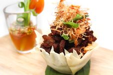Free Fried Crispy Pork With Herb And Seafood Sauce Stock Photo - 30180540