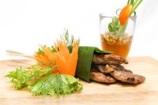 Free Roast Pork Wrapped In Banana Leaves Stock Images - 30181024