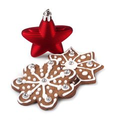 Free Red Christmas Star And Gingerbreads Stock Photos - 30181293