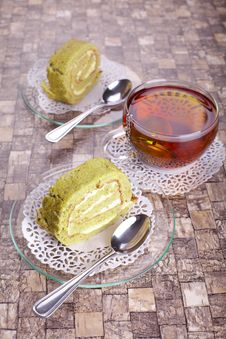 Free Matcha Cake Rolls Stock Photos - 30184243