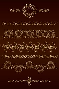 Set Of Vector Borders With Floral Elements Royalty Free Stock Photography