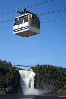 Cable Car And Waterfall Royalty Free Stock Photos