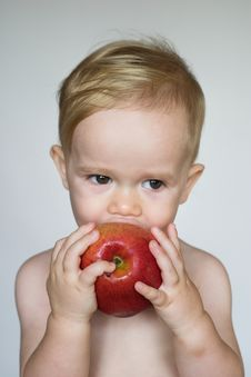 Free Toddler Eating Apple Royalty Free Stock Photos - 3021358