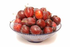Fresh Plums In Glass Bowl Royalty Free Stock Image