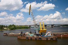 Free Hydraulic Dredge On Barge Stock Image - 3021681
