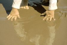 Free Girls Hand In The Sand Stock Image - 3023021