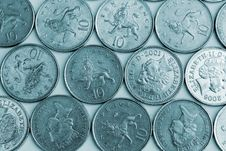 Ten Pence Pieces Stock Photos