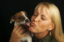 Free Woman & Her JRT Puppy Stock Image - 3025831