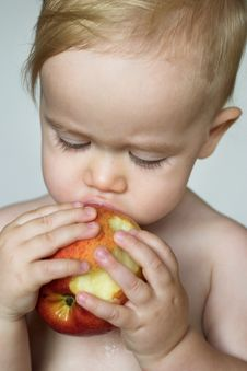 Free Toddler Eating Apple Stock Photos - 3026003