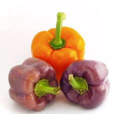 Three Colourful Pepper Bells Stock Photos