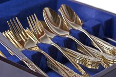 Free Gold Eating Utensils Royalty Free Stock Photos - 3027768