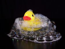 Rubber Duck In A Small Bath Stock Image