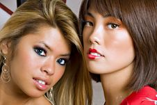 Free Two Young Asian Women Faces Royalty Free Stock Photography - 3029207