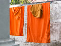 Free Washed And Hung Clothes Of Buddhist Monks Royalty Free Stock Photos - 30200758