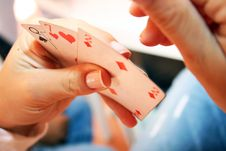 Woman Playing Cards Royalty Free Stock Photo