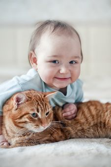 Little Girl And Cat Stock Image