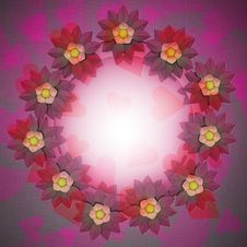 Free Lovely Blossom Circle Card Motive On Romantic Cloth Stock Image - 30203161