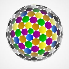 Free Hexagonal Sphere Center Colored Composition Vector Royalty Free Stock Images - 30203689