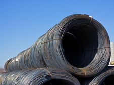 Free Stacked Rows Of Coiled Steel Wire Stock Image - 30208711