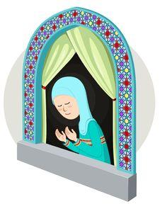 Arabic Girl Praying In The Window Stock Image
