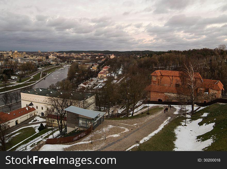 Vilnius Upper Castle in the sunset