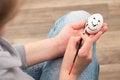 Free Girl Draws On The Egg. Royalty Free Stock Photos - 30219428
