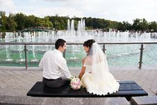 Free Happy Bride And Groom Near Fountain Stock Photo - 30216940