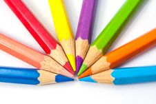 Seven Color Pencils Stock Images