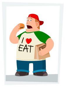 Free Fatman Eating Hamburger Stock Photography - 30234582