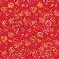 Heart And Flowers Seamless Pattern Royalty Free Stock Images