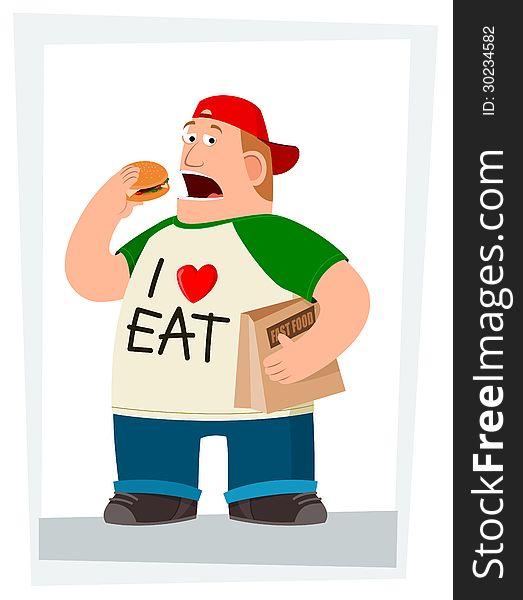 Fatman eating hamburger