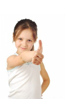 Portrait Of A Girl Showing Thumbs Up Isolated