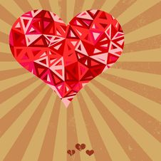 Free Futuristic Geometric Heart On Grunge Background. Royalty Free Stock Photo - 30247345