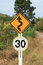 Free Zig Zag Road Warning Sign And 30km Limit Speed Limit Royalty Free Stock Photos - 30249138