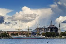 Free View On Seaport Of Riga City From Embankment Of The Daugava River, Latvia Royalty Free Stock Image - 30255466