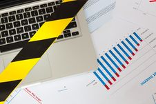 Free Laptop Secured By Police - Yellow Tape Stock Photography - 30255762