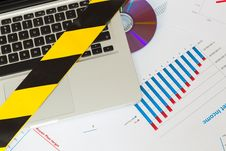 Free Laptop Secured By Police - Yellow Tape And DVD Stock Photo - 30255790