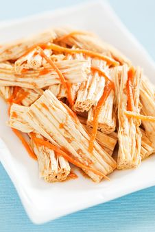 Free Spicy Tofu Skin And Carrots Salad Stock Image - 30257091